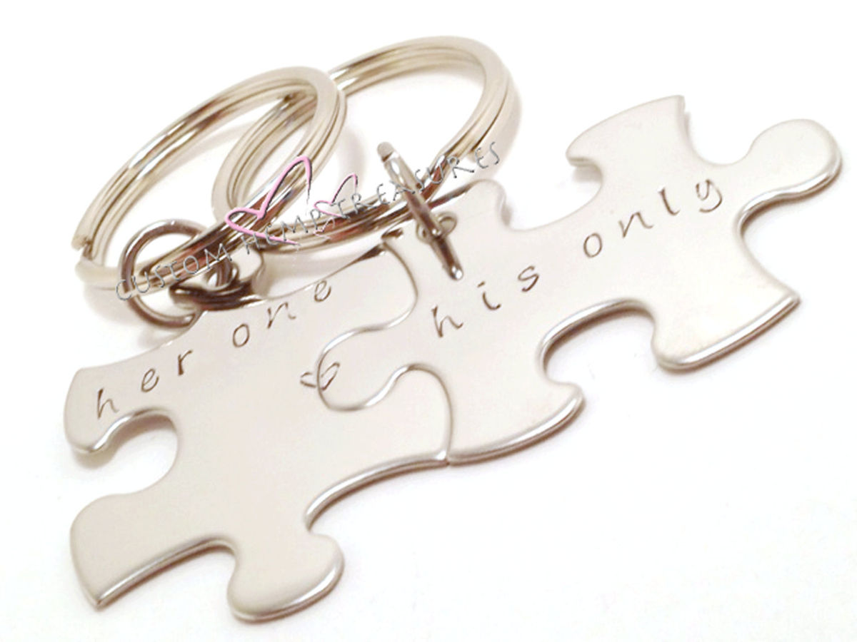 Her One His Only Puzzle Keychains Couples Keychains