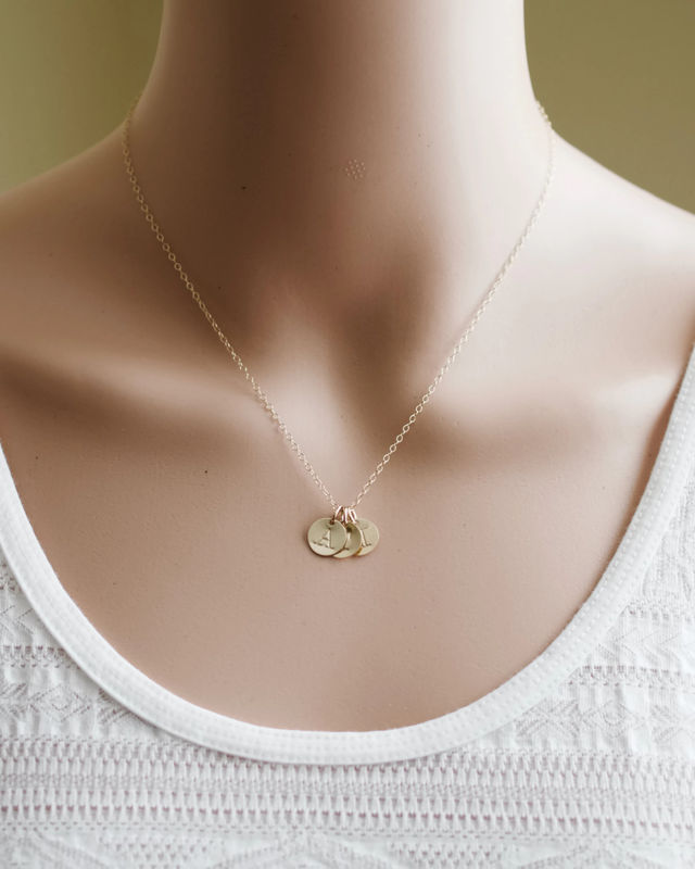 Personalized Gold Mothers Initial Charm Necklace With
