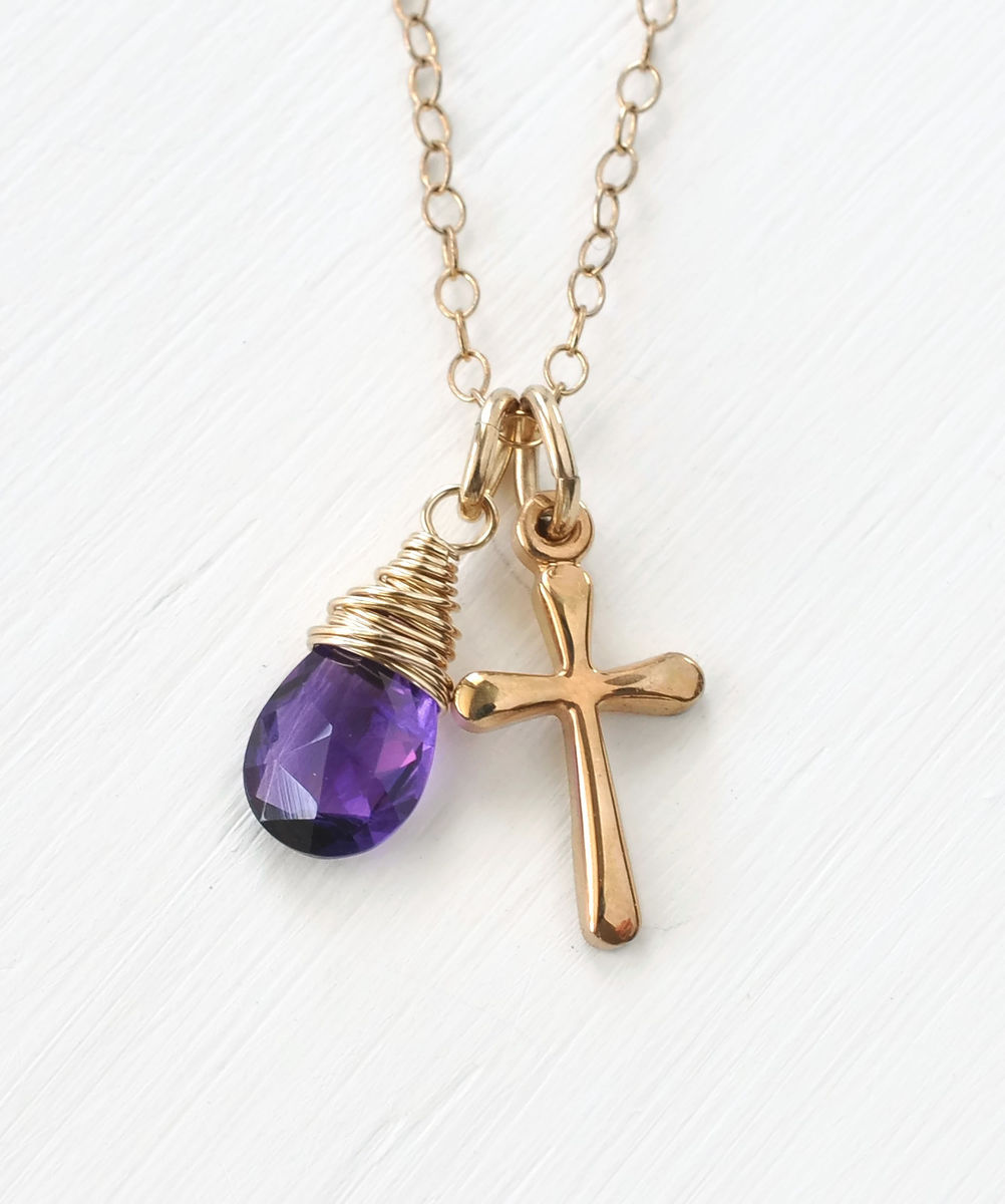 Small Gold Filled Cross Necklace With Birthstone For