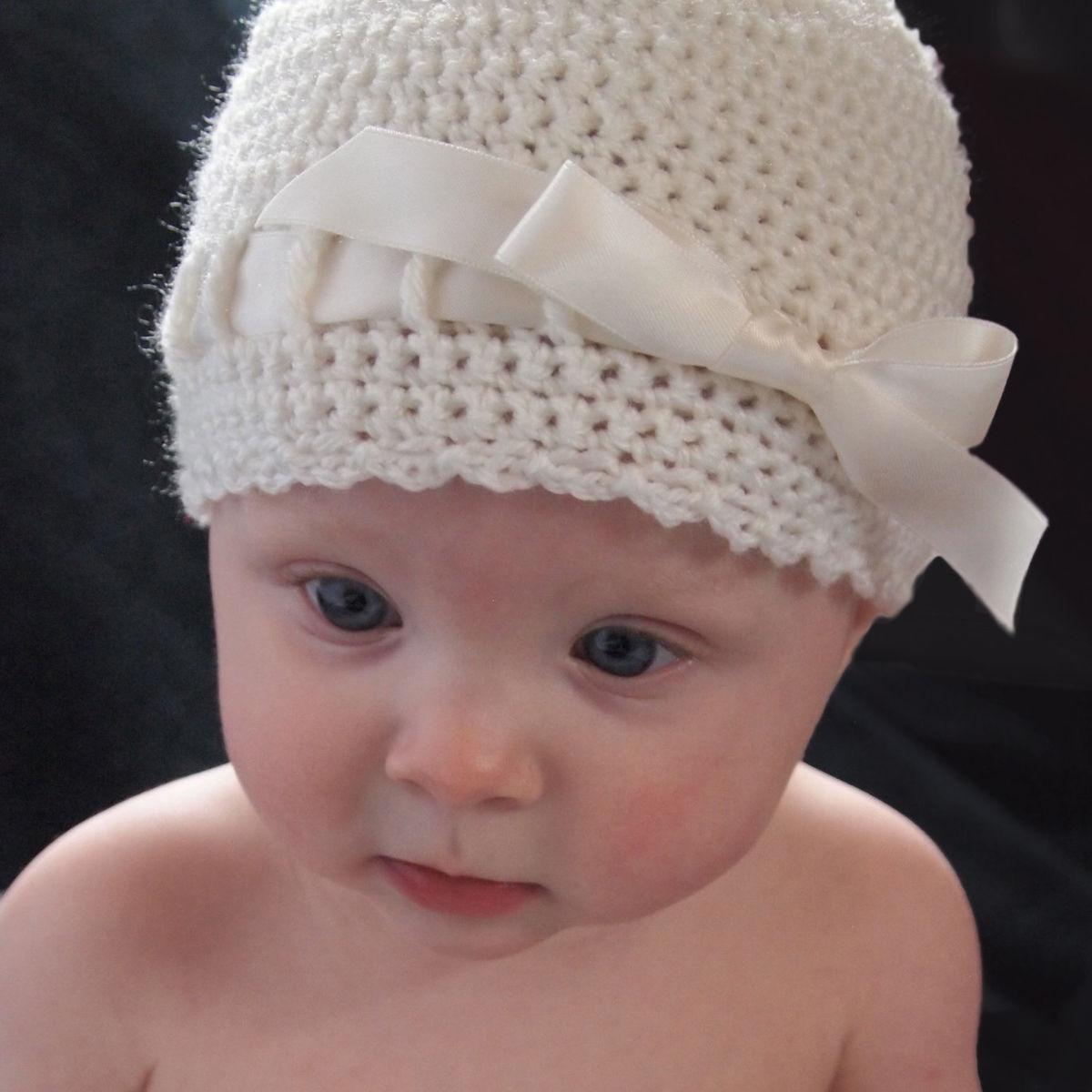 baby crochet hat, newborn ballerina hat, ivory - baby grace