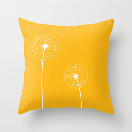 Yellow Dandelion Cushion With Insert Free UK Shipping