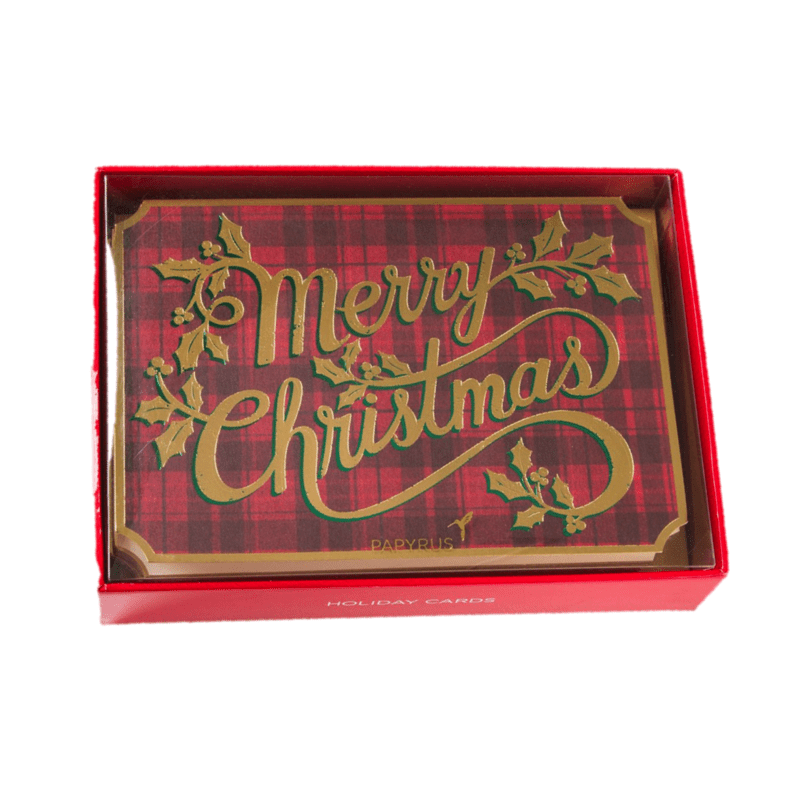 Plaid Vintage Christmas Boxed Holiday Cards Set Of 14