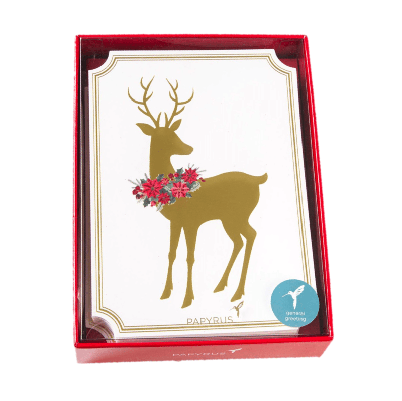 Reindeer With Wreath Boxed Holiday Cards Set Of 14 Ana