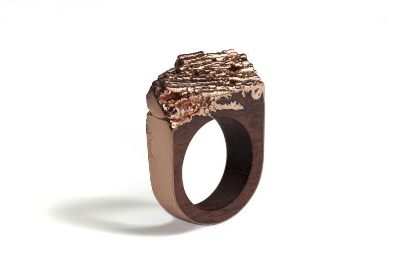 Bibinga Wood And Copper Ring Diane Turner Jewellery