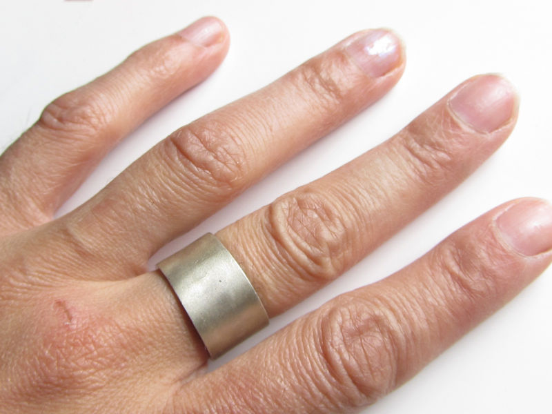 Large 8 Mm Sterling Silver Ring Satin Brushed Finish