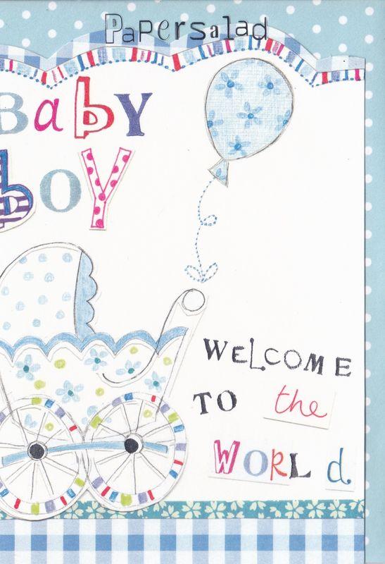 Blue Pram Amp Balloon Baby Boy Card Karenza Paperie