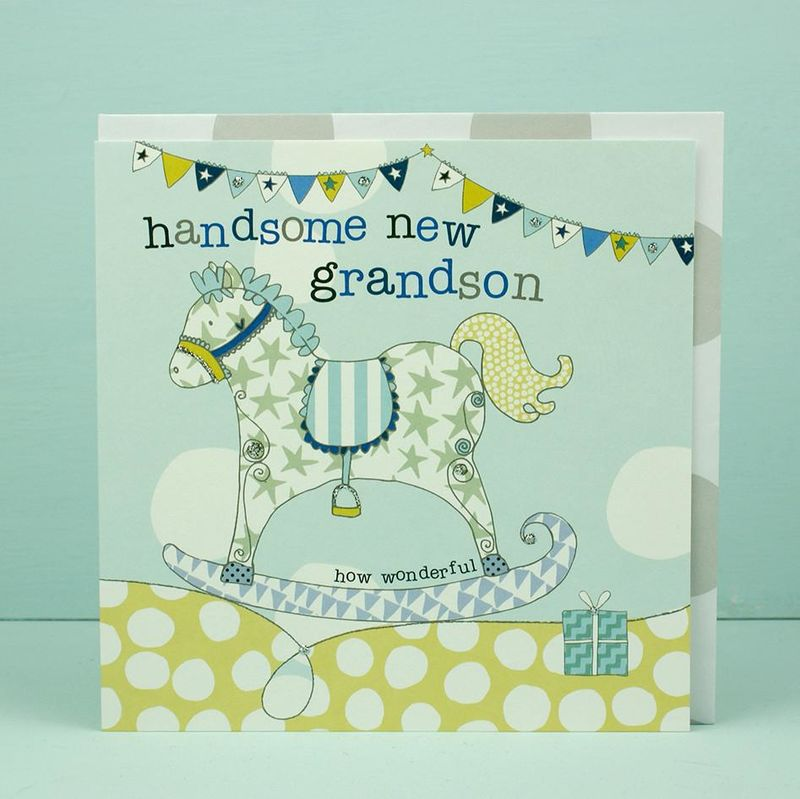 New Baby Grandson Card Grandparents Congratulations Card Karenza Paperie