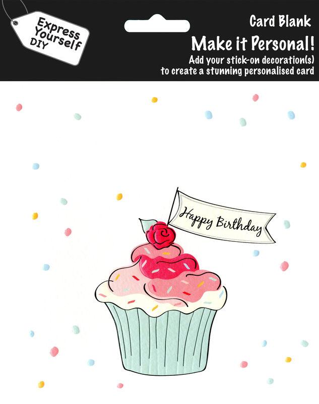 Make It Personal Blank Card Cupcake Happy Birthday