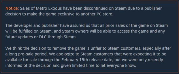 Metro Exodus Tarik Penjualannya dari Steam