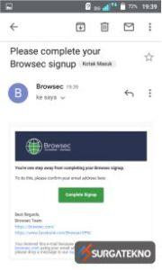 complete sign up pendaftaran browsec