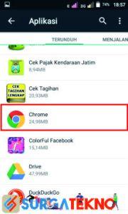langkah 1 masuk ke pengaturan dan cari aplikasi google chrome