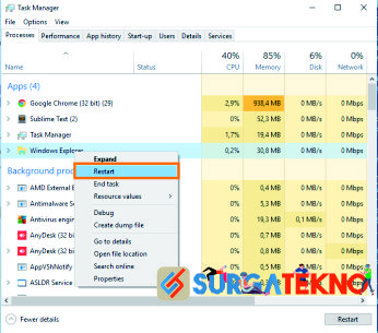 buka task manager restart windows explorer