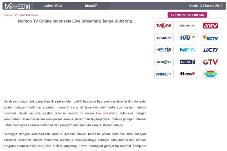tampilan situs tvsakeena