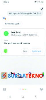 ucapkan pesan whatsapp yang akan dikirim oleh google assistant