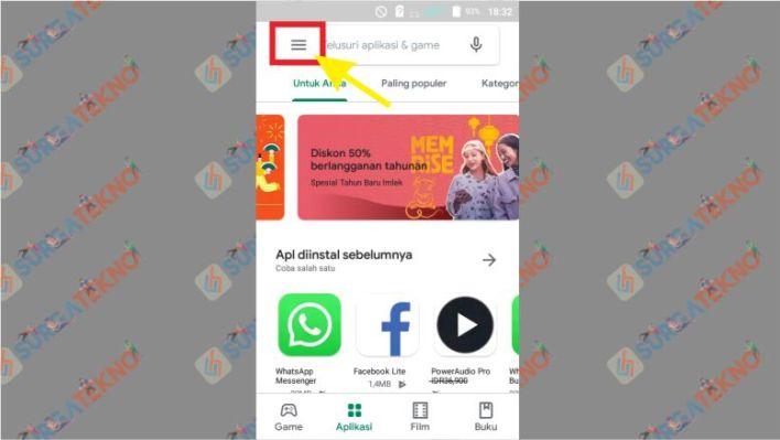 Pilih Menu Pojok Kiri Atas di Google Play