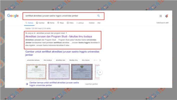 Cara Dowload Akreditasi BAN PT Kampus melalui Google