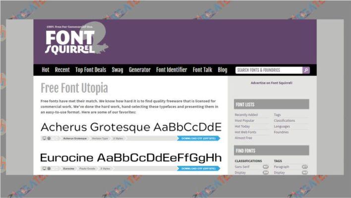 Tampilan Situs Penyedia Font Huruf - fontsquirrel.com