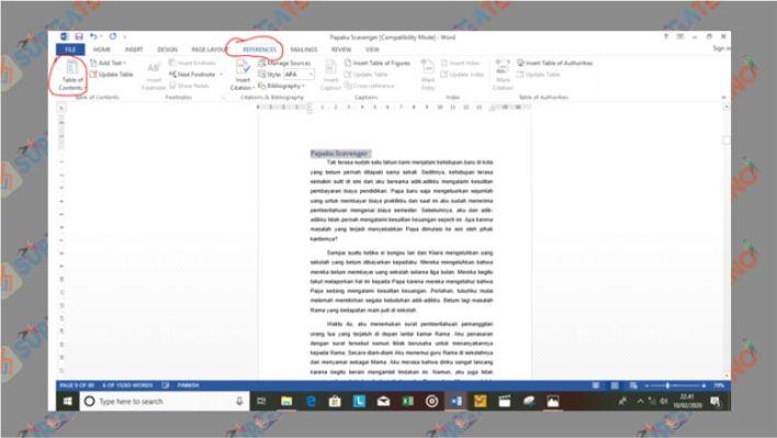 Gunakan Menu Table of Contents untuk Membuat Daftar Isi Otomatis