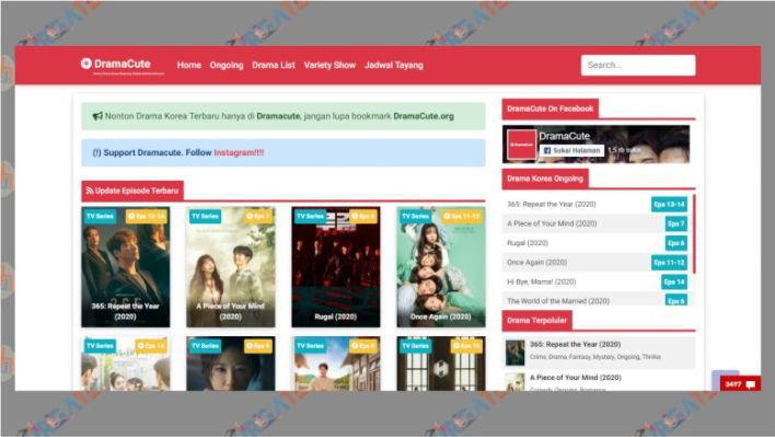 Tampilan Situs Dramacute