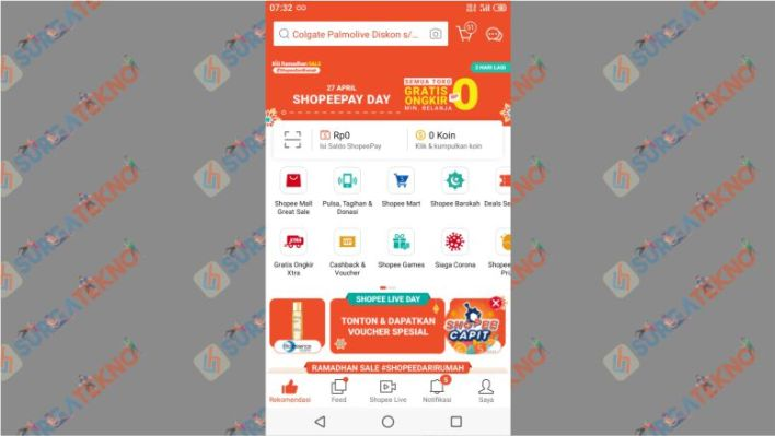 Buka Akun Shopee untuk Membeli Kuota Smartfren