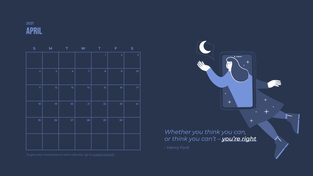 2021 April Motivational Wallpaper –with Calendar 3