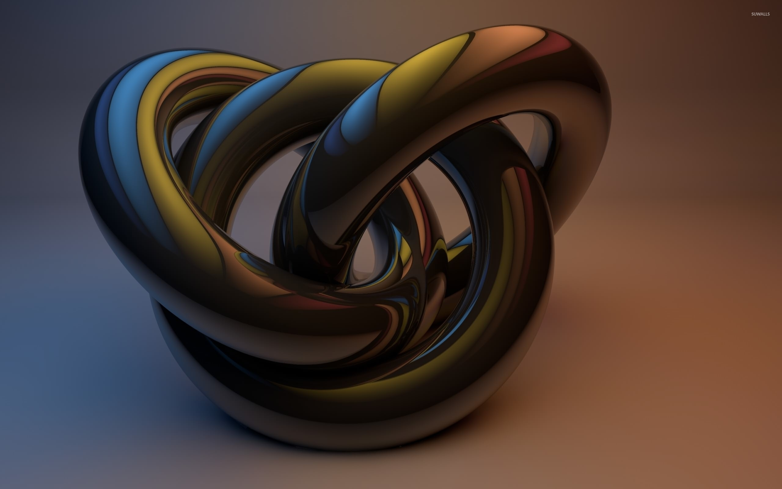connected metallic rings wallpaper - 3d wallpapers - #52884