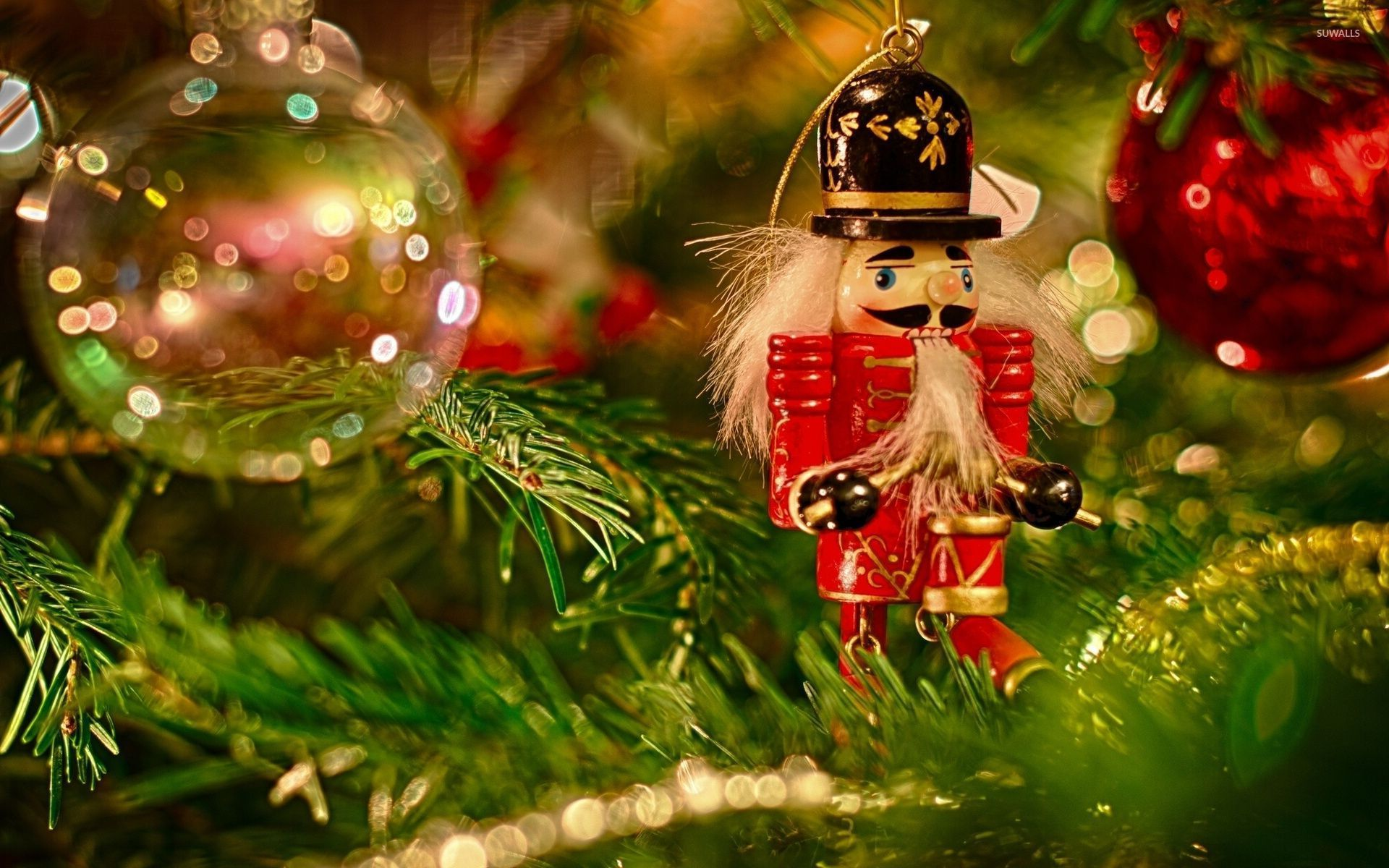Wooden Soldier In The Christmas Tree Wallpaper Holiday