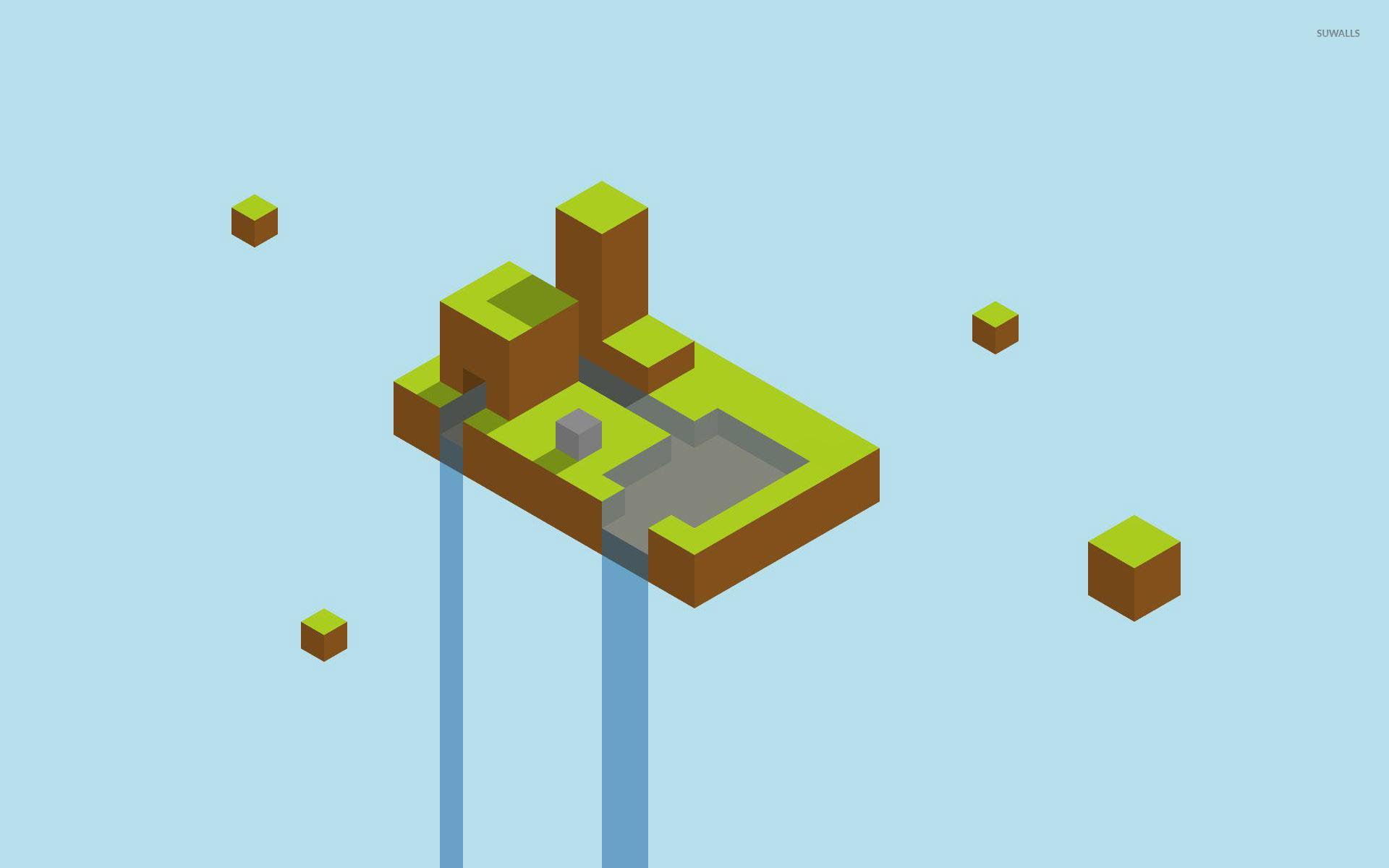 Floating Minecraft Waterfall Wallpaper Minimalistic