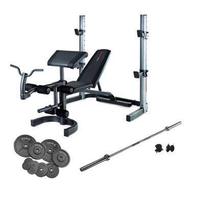 Weider 490 Olympic Bench And 140kg Cast Iron Barbell Set