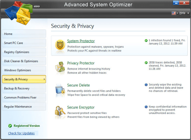 Optimiseur de système avancé logiciels de nettoyage PC gratuit pour Windows