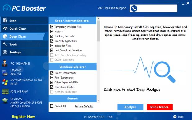 Booster PC logiciels de nettoyage PC gratuit pour Windows