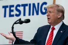 WASHINGTON, DC - MAY 11: U.S. President Donald Trump speaks during a press briefing about coronavirus testing in the Rose Garden of the White House on May 11, 2020 in Washington, DC. Several White House staff members and aides have recently tested positive for the coronavirus and three top health officials from the White House coronavirus task force are now self-quarantining after potential exposure. (Photo by Drew Angerer/Getty Images)