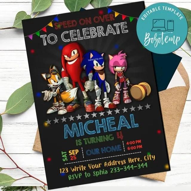 Sonic Party Birthday Invitation Editable Template Bobotemp