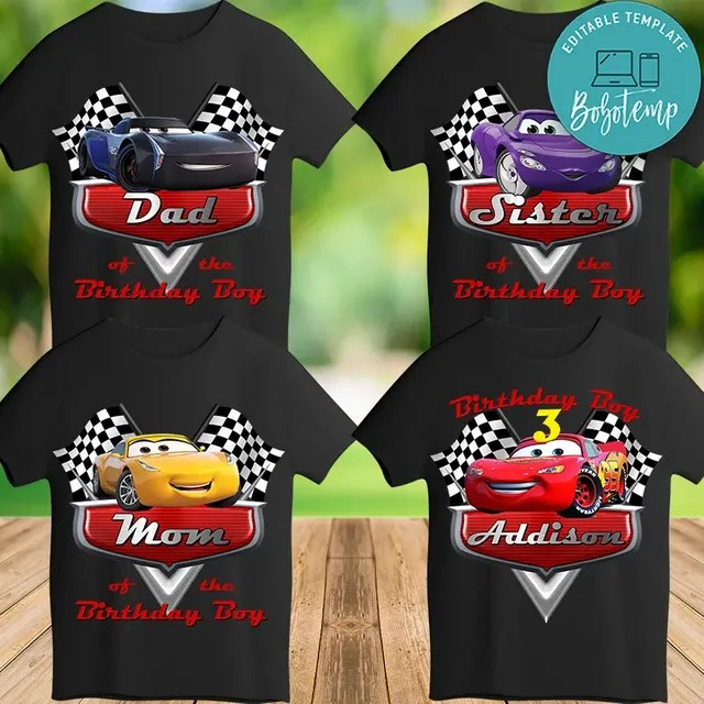 Printable Disney Car 3 Birthday Shirt For Family Digital File Diy Bobotemp