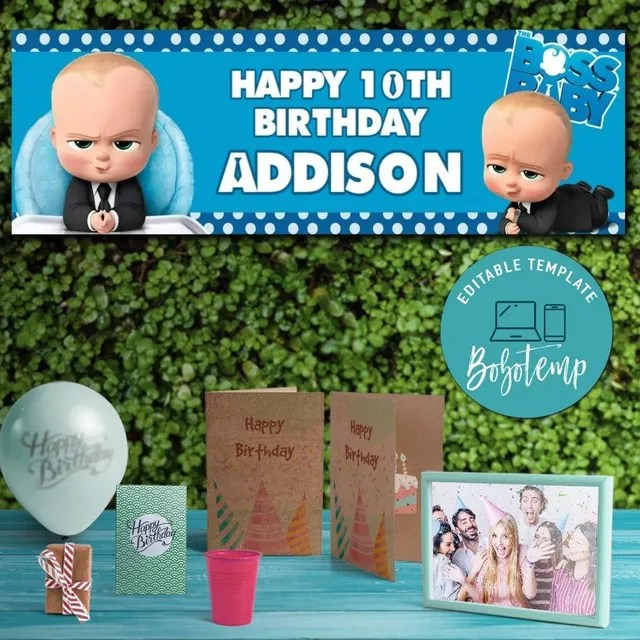 boss baby birthday banner printable instant download