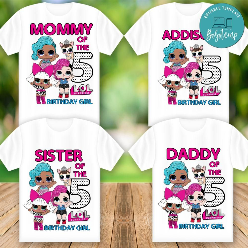 Printable Lol Doll Birthday Party Shirt Digital File Diy Bobotemp