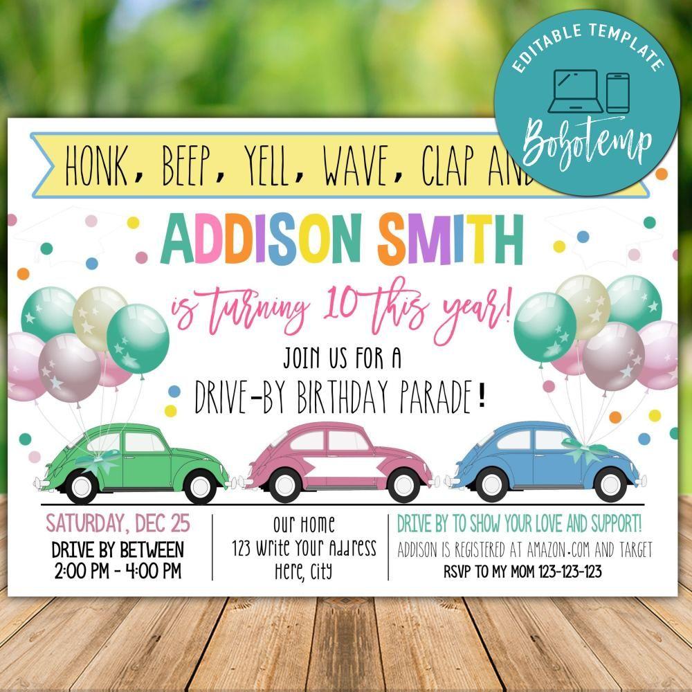 printable drive by birthday parade invitation template diy