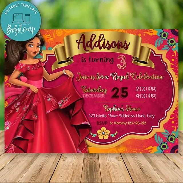 Editable Elena Of Avalor Birthday Invitation Instant Downlod Bobotemp