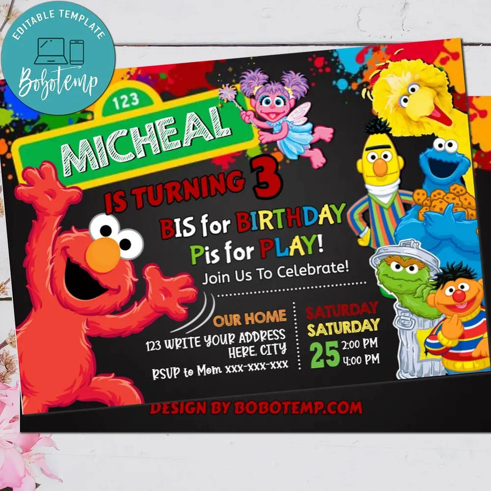 sesame street invite elmo 1st birthday