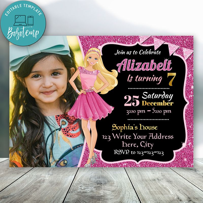 editable barbie birthday invitations with photo instant download