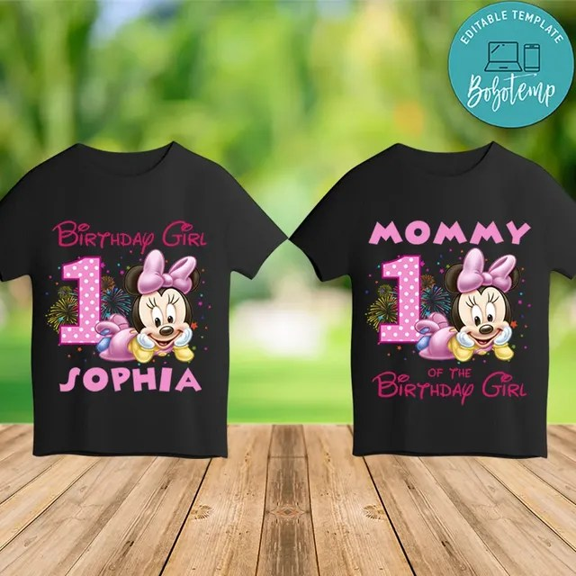 Printable Minnie Mouse Family Shirts Template Instant Download Bobotemp