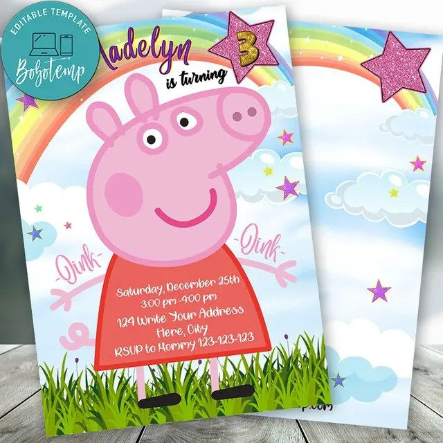 editable peppa pig birthday invitation digital file diy