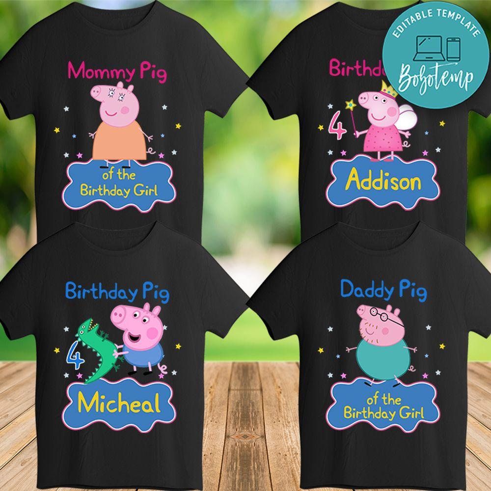Printable Peppa Pig Birthday Shirt For Family Digital File Diy Bobotemp