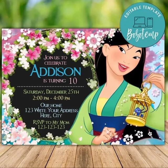 editable princess mulan birthday invitation instant download