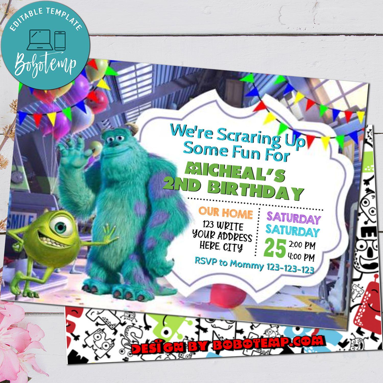 Editable Monster Inc Birthday Invitations Instant Download Bobotemp