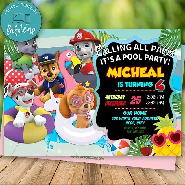 editable pool party paw patrol invitation and free thank you card
