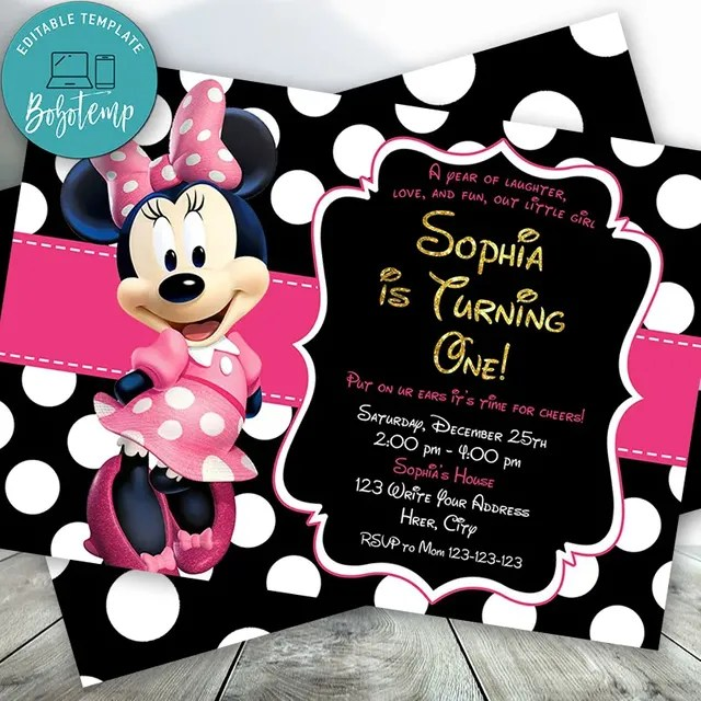editable minnie mouse 1st birthday invitations instant download