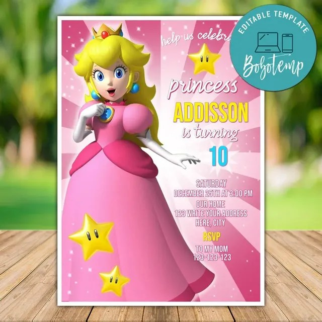 printable princess peach super mario bros birthday party invites
