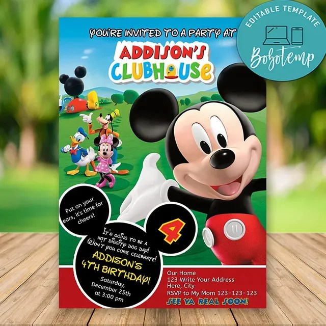 editable mickey mouse clubhouse birthday invitations diy