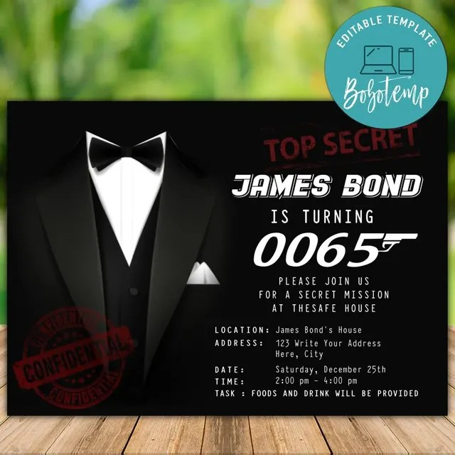 printable james bond surprise 65th birthday invitation for man